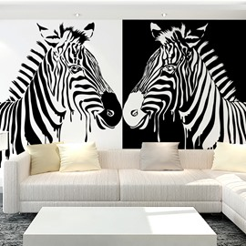 Two Lovely White and Black Zebra Pattern Waterproof 3D Wall Murals