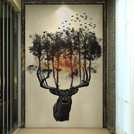 Creative Black Tree on the Deer Head Pattern Decorative Waterproof 3D Wall Murals