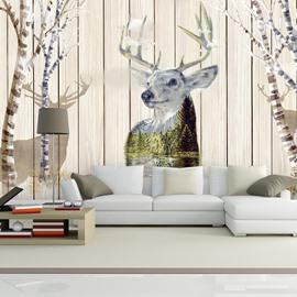 European Style Plank and Deer Pattern Design Waterproof 3D Wall Murals