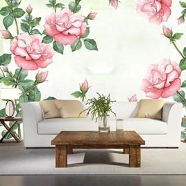 Stunning Simple Style Pink Flowers Pattern Waterproof 3D Wall Murals