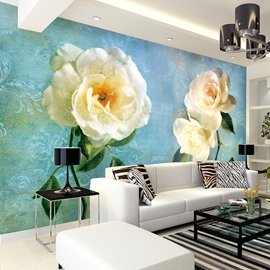Amazing White Rose Pattern Home Decorative Waterproof 3D Wall Murals