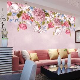 Elegant Pink Flowers Pattern Living Room Decoration Waterproof 3D Wall Murals