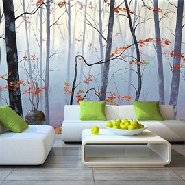 Blurry Autumn Forest Scenery Pattern Waterproof Decorative Wall Murals