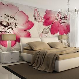 Elegant Pink Flower and Butterfly Pattern Waterproof Splicing 3D Wall Murals