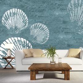 Fresh White Seashells Pattern Decoration Waterproof Splicing 3D Wall Murals