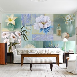 Country Style Flowers Pattern Design Waterproof Splicing 3D Wall Murals