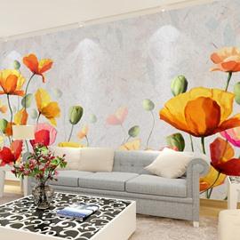 Stylish Flowers Pattern Design Waterproof Living Room Decoration 3D Wall Murals