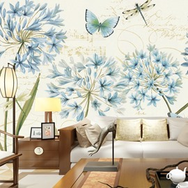 Blue Flower and Butterfly Pattern Design Living Room Decoration Waterproof 3D Wall Murals