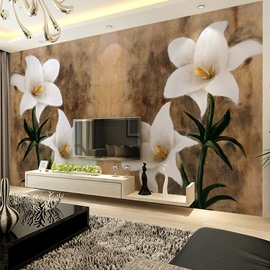 Fresh Modern Design Lily Flowers Pattern Waterproof Splicing 3D Wall Murals