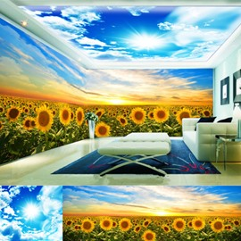 Yellow Sunflowers and Blue Sky 3D Waterproof Ceiling/Wall Murals