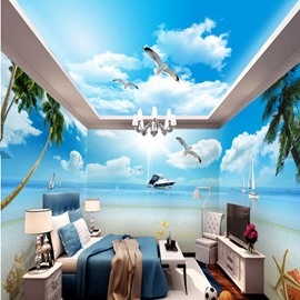 Fresh Palm Tree by the Sea and Flying Sea Mews Scenery Combined 3D Ceiling and Wall Murals