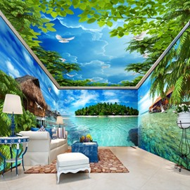 Natural Ocean Scenery and Blue Sky Combined Waterproof 3D Ceiling and Wall Murals