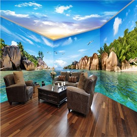Wonderful Blue Sea and Island Pattern Combined Waterproof 3D Ceiling and Wall Murals