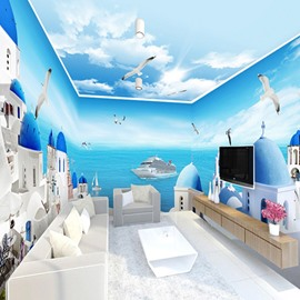 Mediterranean Style Blue Sea and Sky Pattern Combined Waterproof 3D Ceiling and Wall Murals