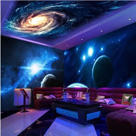 Blue Dreamy Starry Sky and Planets Pattern Waterproof Combined 3D Ceiling and Wall Murals
