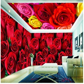 Romantic Red Roses Pattern Waterproof Combined 3D Ceiling and Wall Murals