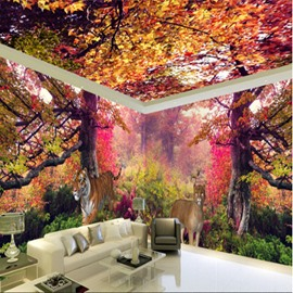 Autumn Forest Scenery Pattern Waterproof Combined 3D Ceiling and Wall Murals