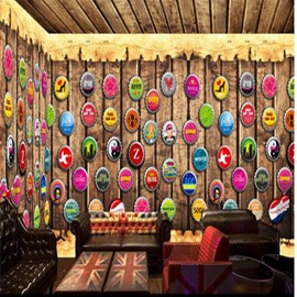 Vintage Style Bottle Cap on the Wall Pattern Combined 3D Ceiling and Wall Murals