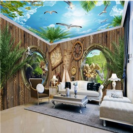 Amazing Wooden House and Blue Sky Pattern Design Combined 3D Ceiling and Wall Murals