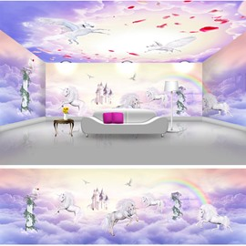 Purple Horses on the Clouds Prints Waterproof Combined 3D Ceiling and Wall Murals