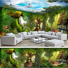 Natural Cabin in the Forest Natural Scenery Pattern Design Combined 3D Ceiling and Wall Murals