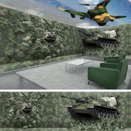 Military Style Tank and Plane Pattern Combined Waterproof 3D Ceiling and Wall Murals