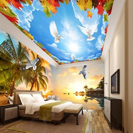 Fabulous Palm Tree by the Sea Sunset Scenery Pattern Combined 3D Ceiling and Wall Murals