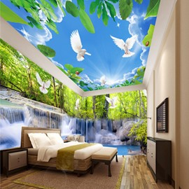 Creative Waterfall in the Forest and Blue Sky Pattern Combined 3D Ceiling and Wall Murals