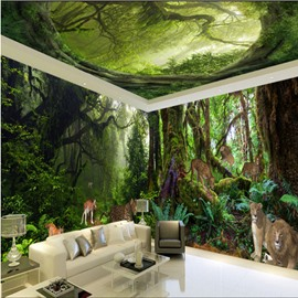 Vivid Animal in the Forest Scenery Pattern Design Combined 3D Ceiling and Wall Murals
