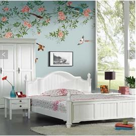Green Leaves Pink Flowers and Birds 3D Blue Waterproof Wall Murals
