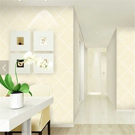 Beige Plaid and Floral Prints 3D Waterproof Wall Murals