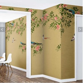 Green Leaves and Pink Flowers with Birds 3D Waterproof Wall Murals