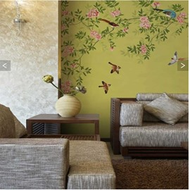 Green Tree Pink Flowers and Vibrant Birds 3D Waterproof Wall Murals