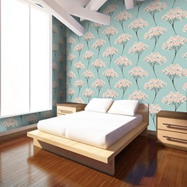 Green Background Embellished by Flowers 3D Waterproof Wall Mural