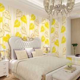 White Leaves and Bamboos on White Background 3D Waterproof Wall Mural