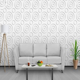 White Background with Circles Durable Waterproof and Eco-friendly 3D Wall Mural