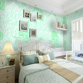 Green Circle and Square Printings 3D Waterproof Wall Mural