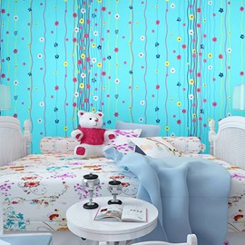 Flowers and Curved Lines with Blue Background Waterproof and Eco-friendly 3D Wall Mural