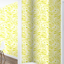 Yellow and Green Floral Printings 3D Waterproof Wall Mural