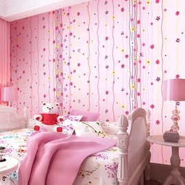 Flowers and Curved Lines on Pink Background 3D Waterproof Wall Mural