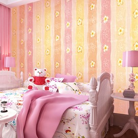 Pink Yellow Orange Stripes and Flowers Durable Waterproof and Eco-friendly 3D Wall Mural