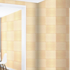 Beige Rhombuses and Plaids Durable Waterproof and Eco-friendly 3D Wall Mural