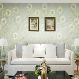 Light Green with Flowers Durable Waterproof and Eco-friendly 3D Wall Mural