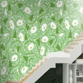 Green Background with White Trumpet Flowers Printed Waterproof and Eco-friendly 3D Wall Mural