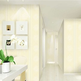 Beige Background and White Flowers Durable Waterproof and Eco-friendly 3D Wall Mural