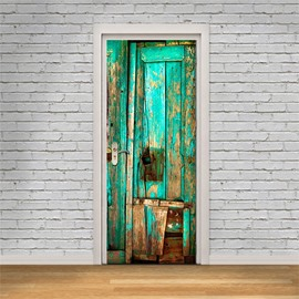 30×79in Green Wooden Door PVC Environmental and Waterproof 3D Door Mural