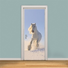 30×79in White Running Horse PVC Environmental and Waterproof 3D Door Mural