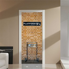 30×79in Bricks Pattern Platform PVC Environmental and Waterproof 3D Door Mural