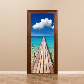 30×79in Wooden Path over Blue Sea PVC Environmental and Waterproof 3D Door Mural