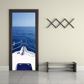 30×79in Blue Sea and Sailing Yacht PVC Environmental and Waterproof 3D Door Mural